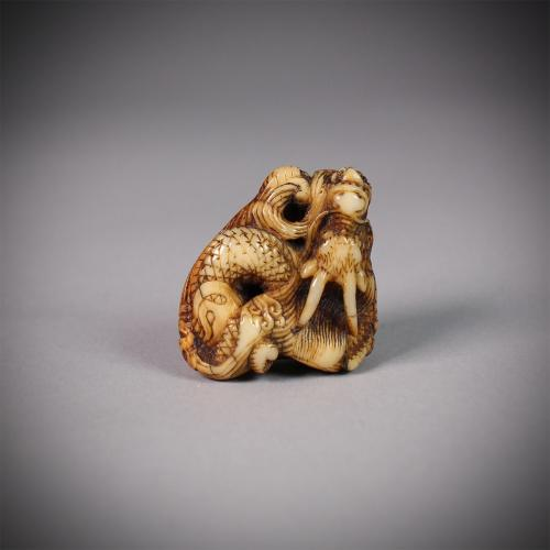 Narwhal Ivory Netsuke of a Dragon
