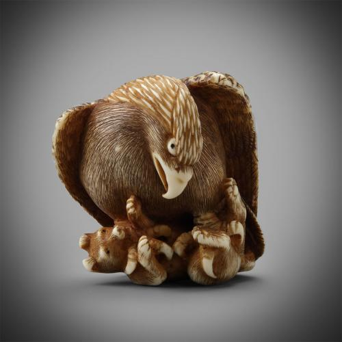 Ivory Netsuke of an Eagle and Fox by Tomochika