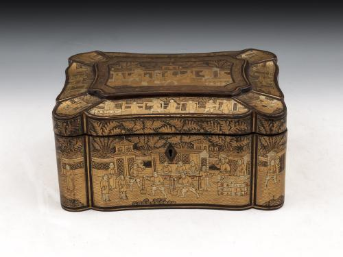 Chinese Export Lacquer Tea Chest circa 1840