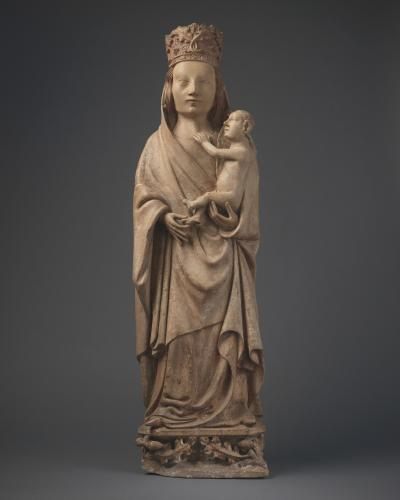Virgin and Child, Limestone, with traces of original polychrome France, Basse-Normandie, Cotentin, c. 1400