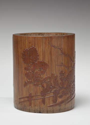 A skin carved bamboo brushpot, Chinese, Qing dynasty, probably Daoguang (1821-1850) or Xianfeng (1851-1861) period.