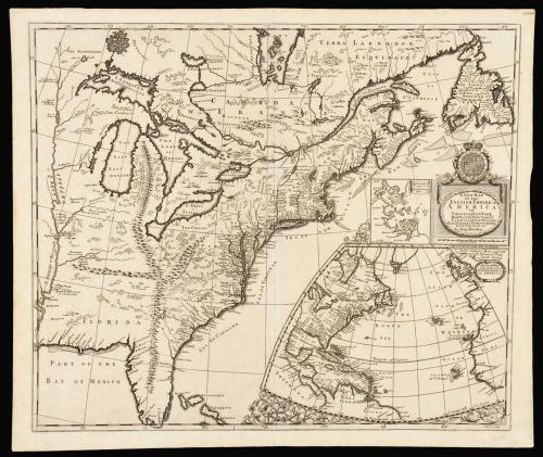 Separately issued map of English Colonial America