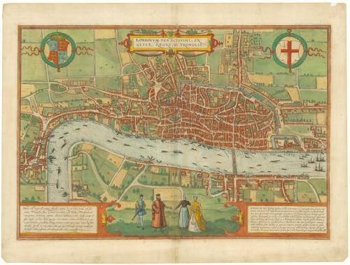 Braun & Hogenberg London, the earliest printed map of London to survive.