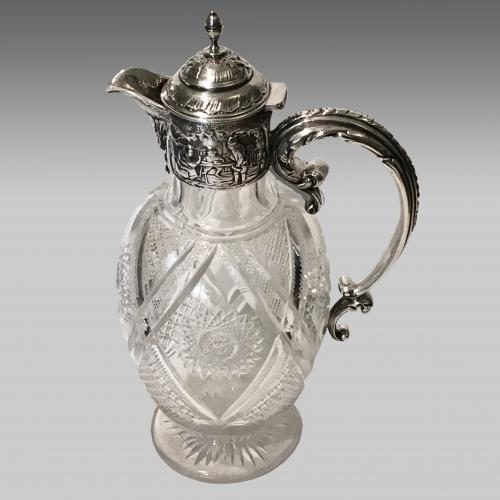 19th century silver mounted cut glass caret jug