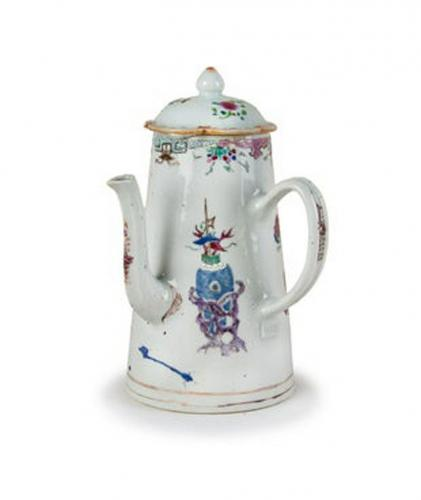 Chinese Export Porcelain Famille Rose Coffee Pot, Circa 1740