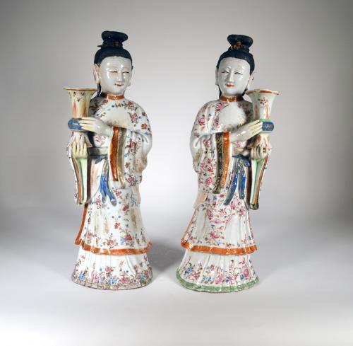 Chinese Export Pair of Maiden Candlesticks, Circa 1760-75