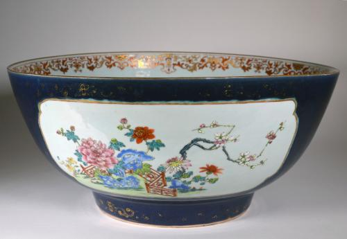 "Chinese Export Porcelain Large ""Famille Rose"" Punch Bowl with Mazarine Blue & Gilt Ground, Circa 1760-70"