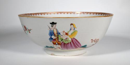 Chinese Export Porcelain European-subject Punch Bowl, Sailor's Farewell and Return Bowl with Royal Navy Ship, Circa 1765-75