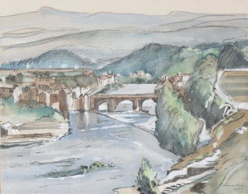 The Teme and Ludlow Bridge, Shropshire, Samuel  Lamorna Birch RA, RWS (1869-1955)