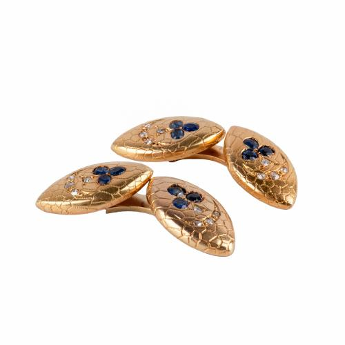 Antique Navette Shaped Cufflinks in 18 Karat Gold with Sapphires & Diamonds, French circa 1890.