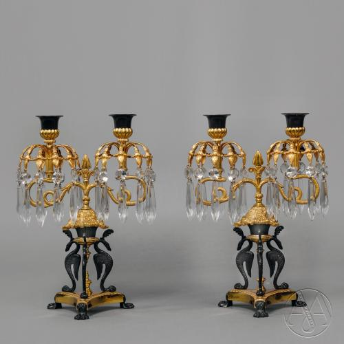 A Pair Of Empire Revival Gilt And Patinated Bronze Twin-Light Lustre Candelabra
