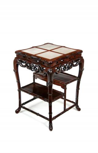 19th Century Chinese Padouk Stand / Table with Marble Inserts