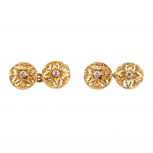 Art Nouveau Cufflinks of Floral Pattern in 18 Carat Gold with Diamond Centre, English circa 1890.