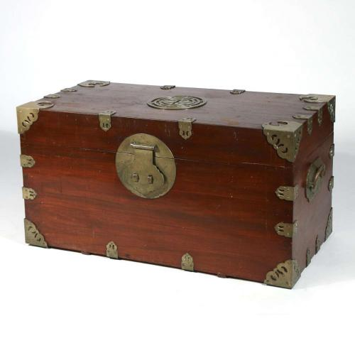 Chinese Export Sailor's Large Brass-bound Sea or Campaign Chest, Mid-19th Century