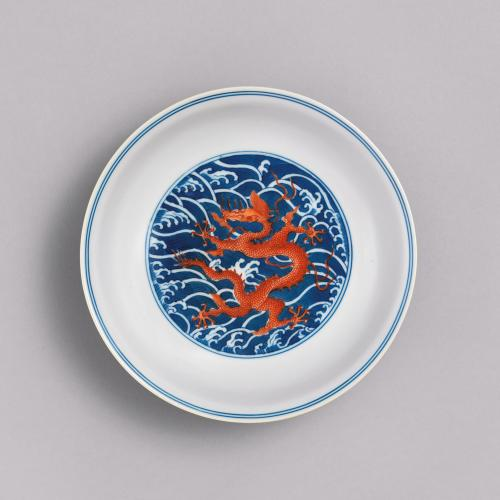 Chinese imperial porcelain blue ground iron-red dragon saucer dish