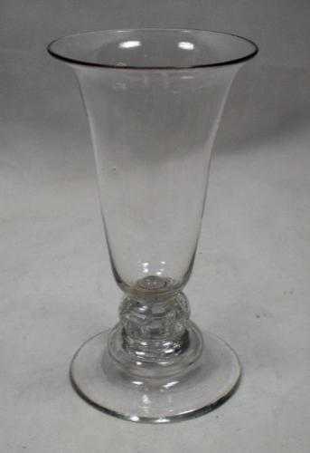 A crystal jelly glass on beaded knop and domed foot English c.1760