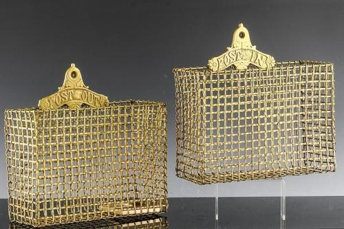 Victorian Gilt Metal Wire Hanging Letter Baskets - Post In & Post Out, Circa 1875