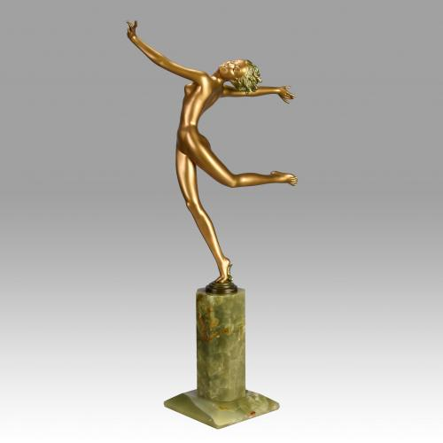 Austrian Cold Painted Art Deco Bronze 'Kristina' by Josef Lorenzl