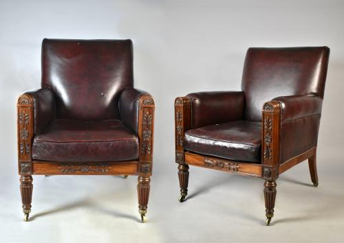A large scale pair of late Regency mahogany armchairs in the manner of Gillows, c.1825