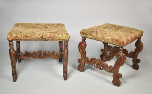A rare pair of William and Mary oak stools with needlework covers, c.1690