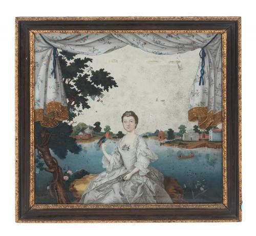 A Rare Chinese Export 'European-Subject' Reverse Glass Painting