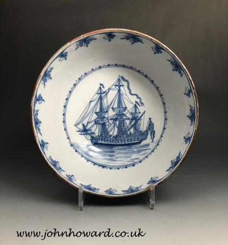 Liverpool delftware pottery ship bowl mid 18th century England
