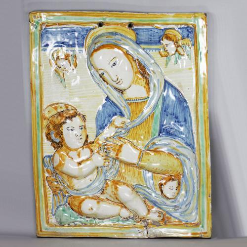 Italian Deruta maiolica rectangular plaque, 17th century