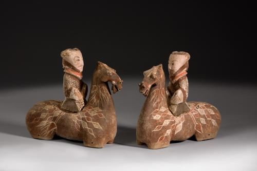 A Pair Of Chinese Unglazed Pottery Horses And Riders, Han Dynasty