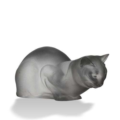 "Frosted Glass Study ""Chat Reposé"" by Marc Lalique"