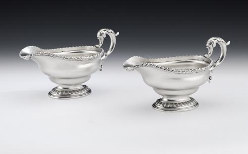 A very fine & rare pair of George II cast Sauceboats made in Edinburgh in 1759 by Lothian & Robertson