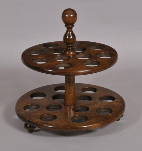 S/4419 Antique Treen 19th Century Birch Two Tier Egg Stand