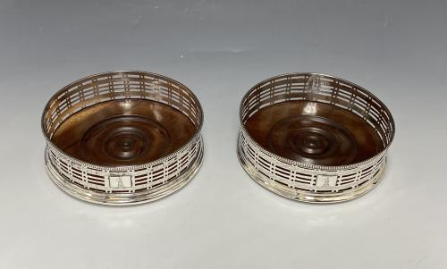 Robert Hennell Georgian silver wine coasters 1778/9