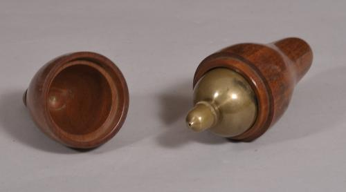 S/4428 Antique Treen 19th Century Brass and Steel Plumb Line Weight in a Mahogany Case
