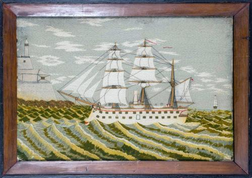 British Sailor's Woolwork Picture of a Ship on Unusual Green Sea,
