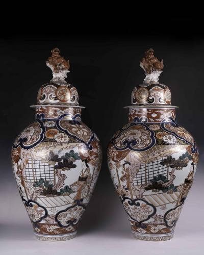 A large pair of Japanese Imari vases circa 1700