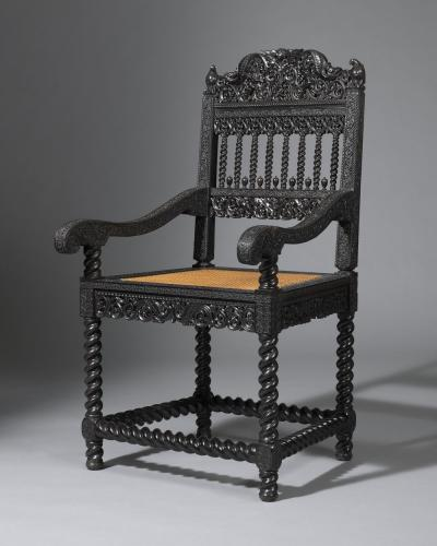 Rare ebony armchair from Longleat House South India or Ceylon late-17th Century