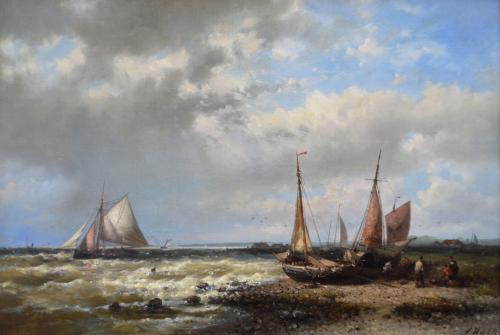 Abraham Hulk Snr | Fishing Boats off the Dutch Coast | oil on canvas