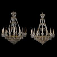 An Important Pair of Eighteen-Light Engraved Glass Chandeliers By Baccarat ©AdrianAlanLtd