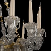 An Important Pair of Eighteen-Light Engraved Glass Chandeliers By Baccarat