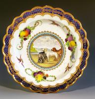 First Period Worcester Porcelain Aesop's Fable Plate, Lord Henry Thynne Pattern