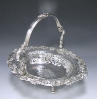 A George II Antique Silver Swing –Handled Basket