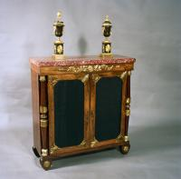 FINE PURE REGENCY PERIOD ROSEWOOD AND ORMOLU MOUNTED CABINET