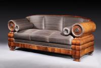 An early-19th century, mahogany 3 seater settee upholstered in horsehair