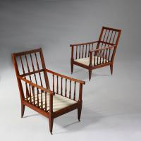 A Pair of Large Mahogany Library Armchairs