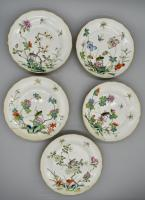 Famille Rose- Set of Five Insect Dishes