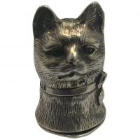 Sterling Silver Cat Vesta with Hinged Lid