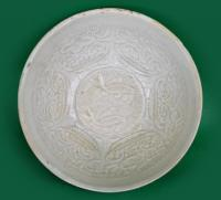 White glazed twin fish and lotus molded bowl
