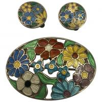Silver and Floral Enamel Brooch and Clip-On Earrings Set