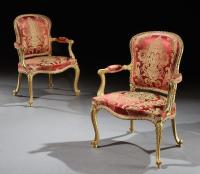 John Cobb: A Pair of George III Giltwood Armchairs