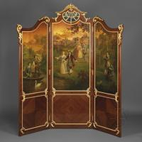 A Gilt-Bronze Mounted Vernis Martin Three-Fold Screen